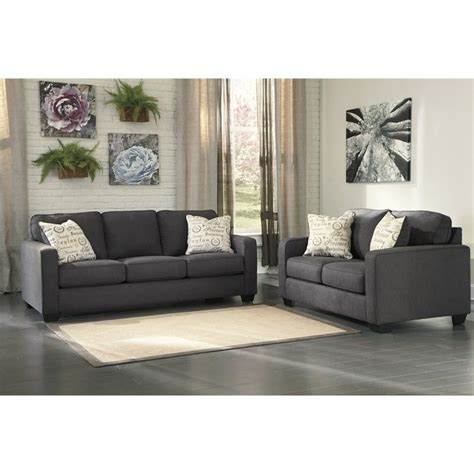 ashley alenya sofa review ashley alenya 2 piece sofa set in charcoal 16601 38 35 pkg