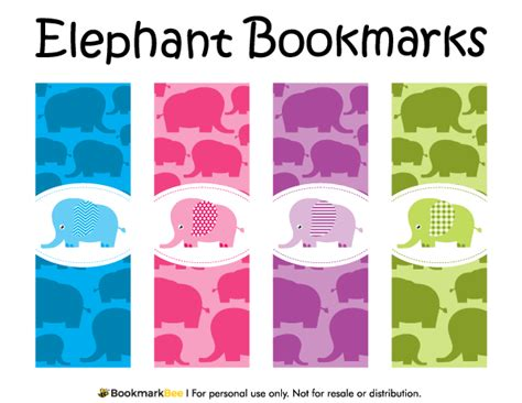 printable elephant bookmarks free printable elephant bookmarks each bookmark includes