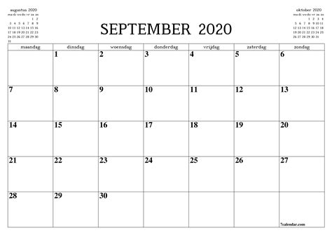 gratis afdrukbare lege maandelijkse kalender en planner voor september      en