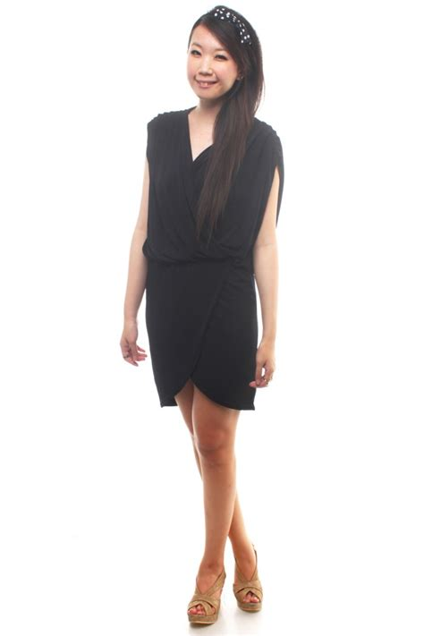 v neck drape dress v neck draped dress the label junkie