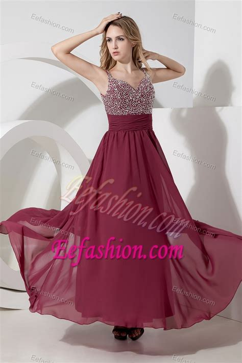 New Burgundy Straps Long Chiffon Prom Dress for Parties