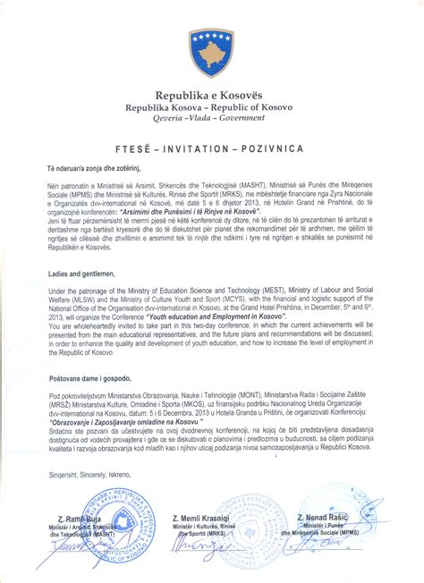 Invitation Letter For Youth Meeting Conference Youth Education And Employment In Kosovo News Ministry Of Culture Youth And Sport