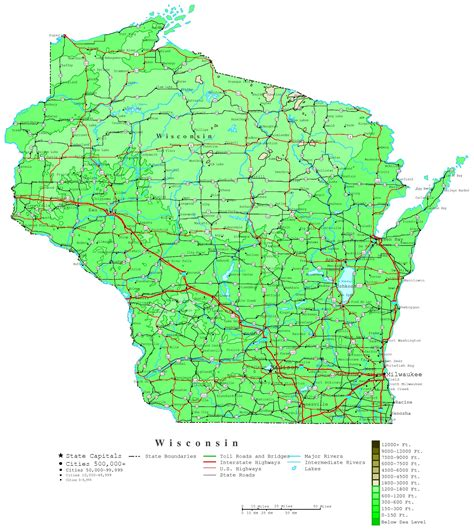 map of wi wisconsin contour map