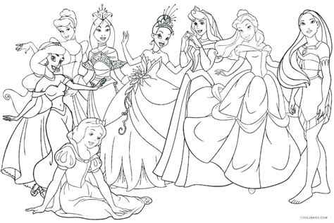 All Disney Princesses Together Coloring Pages