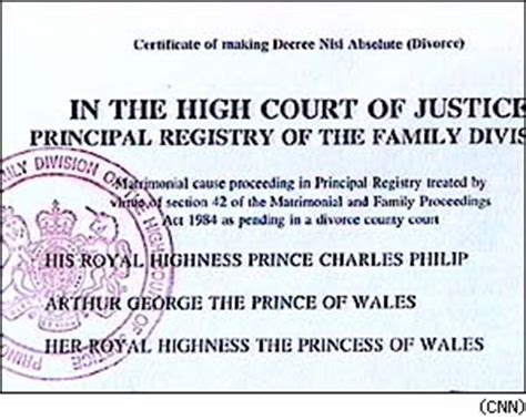 Pending Divorce Records Cnn Text Of Charles And Diana S Divorce Decree August