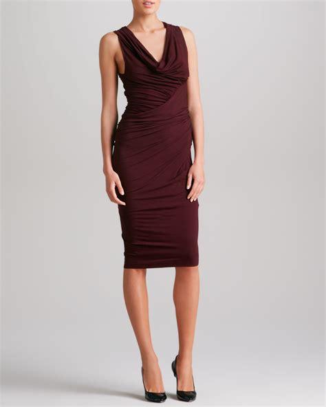 donna karan draped dress donna karan new york sleeveless draped jersey dress in red