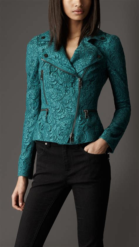 lace jacket green burberry cropped lace biker jacket in green lyst