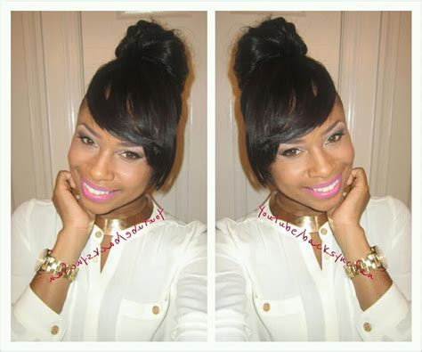 images of black bun and side bang hairstyles image gallery high bun with bangs