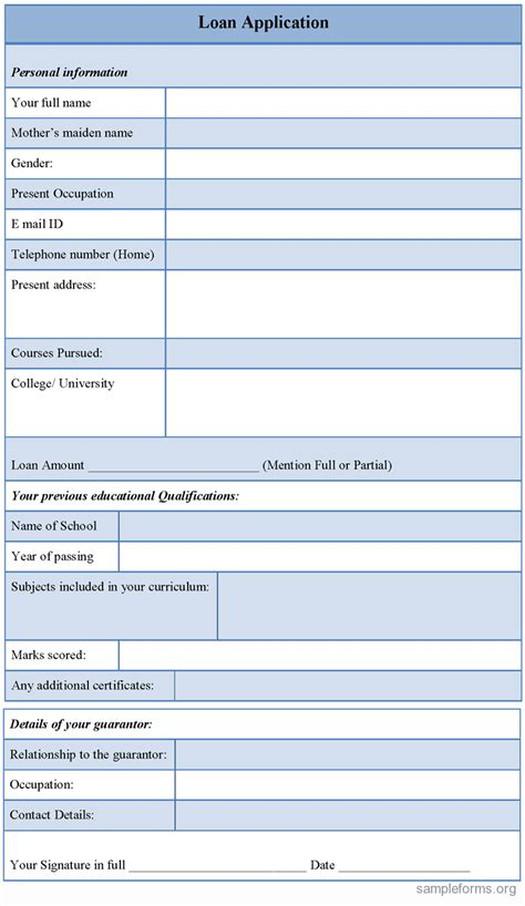 sle loan application form sle forms