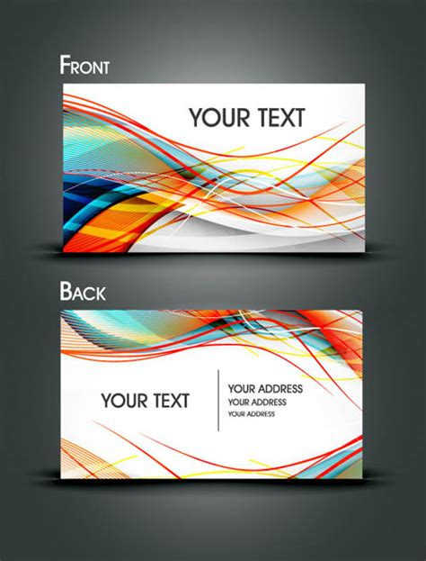 free line card template dynamic flow line business card template vector free