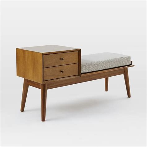 bench west elm mid century storage bench acorn west elm