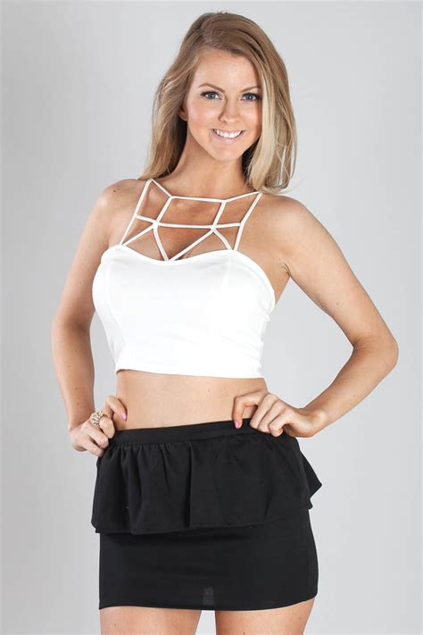 Strappy Crop Top white ultra strappy crop top