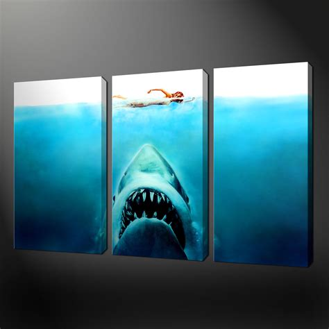 canvas prints jaws three panel split canvas wall art pictures prints size variety canvas print art