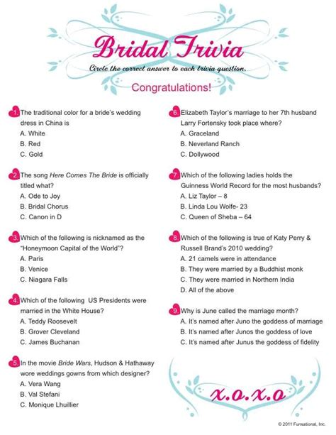 bridal shower trivia questions template bridal shower questions 99 wedding ideas