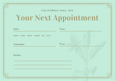 free end card template canva customize 31 appointment card templates canva