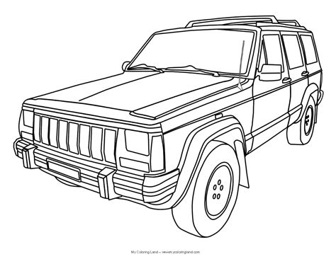 cartoon jeep cherokee jeep printable coloring pages