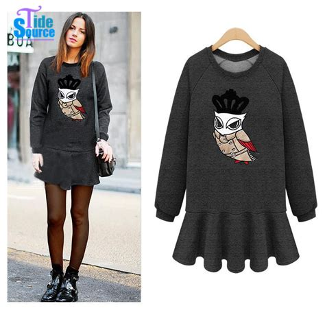 new fashion 2015 owl printed winter casual dress