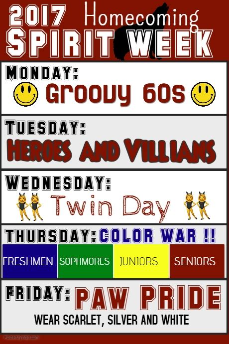 Spirit Week Template Postermywall Free Spirit Week Flyer Template