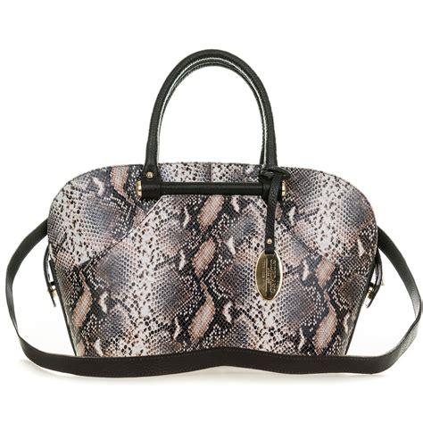 Giordano Original Leather giordano italian made brown python print leather tote handbag