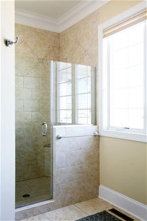 Shower With Half Wall And Glass Door Shower Door And Half Glass Wall Half Wall Showers