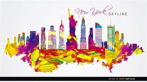 design grafix bahrain nueva york colorido silueta descargar vectores gratis