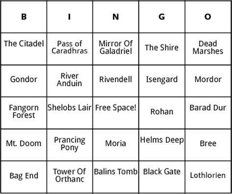 rohan cards templates lord of the rings locations bingo by bingo card template