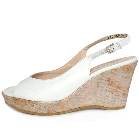 kaiser bobby white leather wedge shoes mozimo