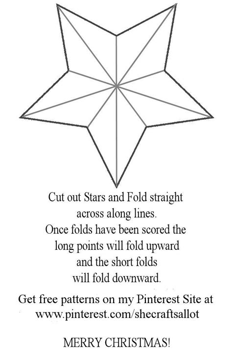 Free Printable Patterns For Making A 3d Shabby Chic 5 Point Christmas Star Ornament From Your 3d Ornament Templates