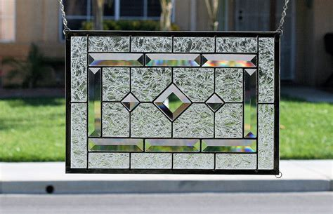 stained glass window panels diamonds clear stained glass window panel with faceted