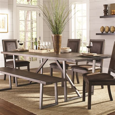 Coaster Dining Room Table Coaster Genoa 104911 Rustic Quot U Quot Base Dining Table Dunk Bright Furniture Dining Room Table