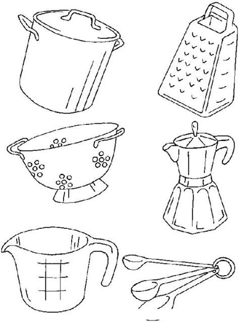 kitchen objects coloring pages dibujo de utensilios de cocina para pintar y colorear