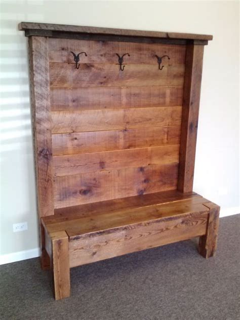 reclaimed wood entry bench reclaimed barn wood entry bench 54 quot l x 72 quot h x 18 quot d