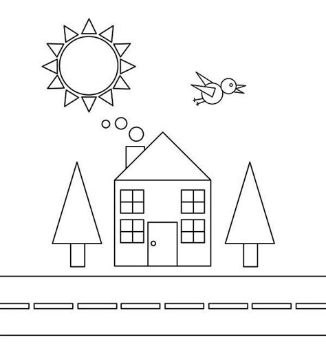 shape of house shapes of house and bird with trees and the sun coloring