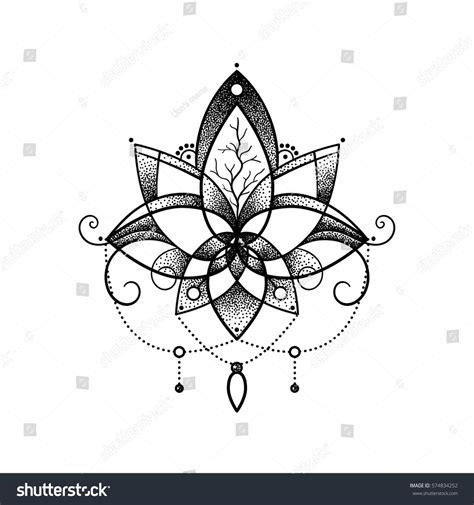lotus tattoo vector vector ornamental lotus flower ethnic art stock vector