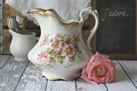 antique rose shabby chic pitcher by goodwin pottery