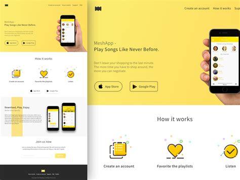 page layout web app mobile app landing page sketch freebie download free