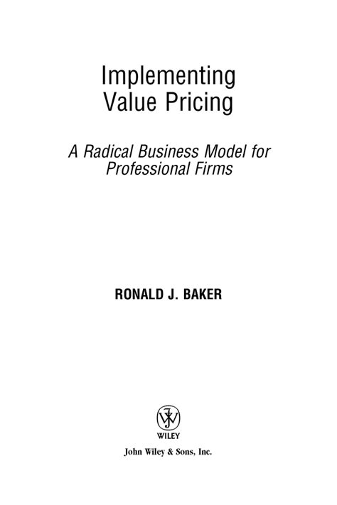 title page implementing value pricing a radical business model for professional firms book