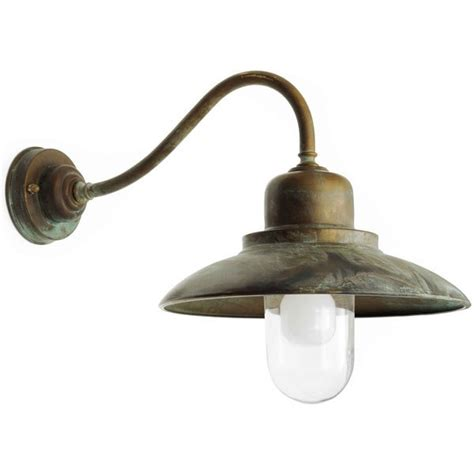 bianco swan neck outdoor wall light aged copper