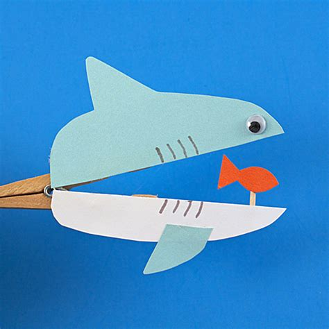 shark craft projects clothespin shark family crafts