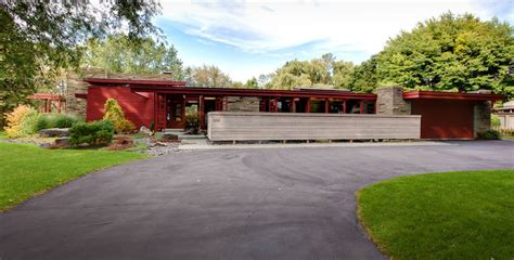 Usonian Floor Plans by Modern Asian Fence Design Exterior Midcentury With Usonian Neutra House Numbers Red Exterior