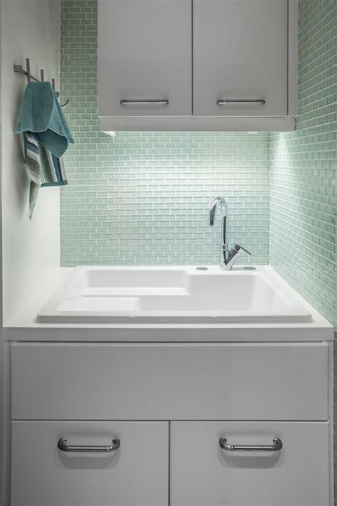 Mint Green Tiles Contemporary Laundry Room 2id Interiors Laundry Room Sink