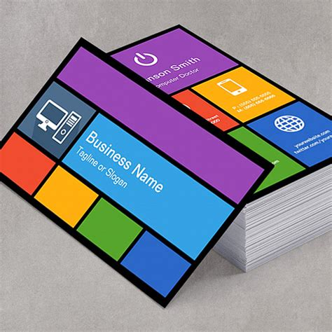 computer service business card template free computer retailer repair colorful tiles creative