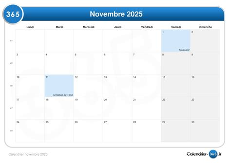 Calendrier 6 Novembre Calendrier Novembre 2025