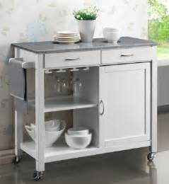 Kitchen Island Trolleys Harrogate White Painted Hevea Hardwood Kitchen Trolley