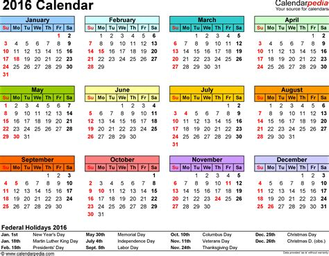 2014 To 2017 Calendar 2016 Calendar Printable One Page 2017 Calendar With Holidays