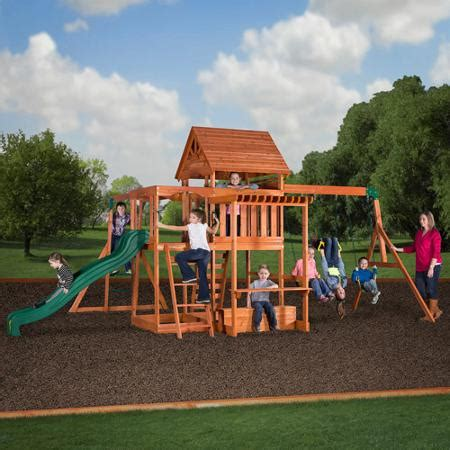 backyard swing sets backyard discovery monticello cedar swing set walmart com