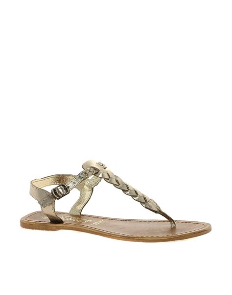 Gladice Sandal by New Look New Look Gladice Gold Woven Leather Flat
