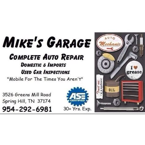 Garage Phone Number by Mike S Garage Auto Repair 3526 Greens Mill Rd