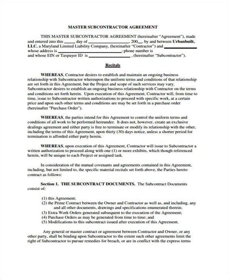 master subcontract agreement template master subcontract agreement template emsec info