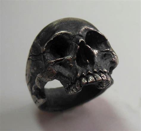 Skull Ring Vintage 925 sterling silver halfjaw skull ring vintage blackened